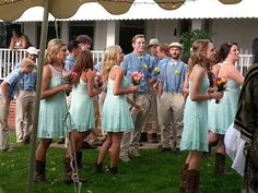 Outfits♡ bridesmaids: mint green, cowgirl boots, lace groomsmen: suspenders, and bow ties
