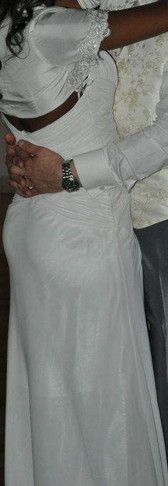 Robe de soirée mariage d'occasion en satin et coton