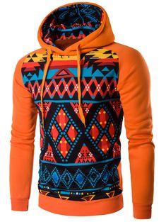 Cartoon Geometric Printed Orange Hoodie #shoes, #jewelry, #women, #men, #hats, #watches, #belts