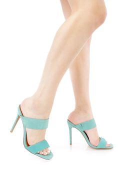 Mint Open Toe Double Strap Heels