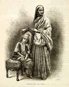 Again a Parsi Woman with her child who wears a Jhabla (Pharyah)