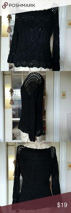 Black crochet knit boho chic sweater lined pxl Euc Bandolino Sweaters Crew & Scoop Necks