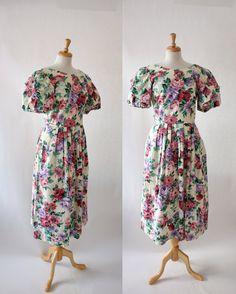 Vintage 80s Lanz Originals Floral Chintz Dress