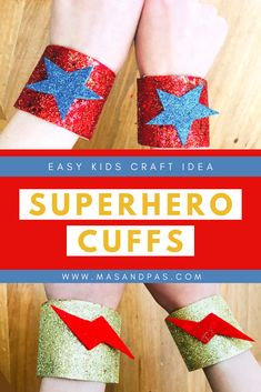Your kids can make their own superhero cuffs using this creative and fun craft project idea! They are made from toilet paper rolls and can allow your child to be as creative as they'd like with the design of their superhero cuff bracelet #superhero #craftsforkids #funcraftsforkids #superherocrafts #easycraftsforkids Fun Crafts For Kids, Easy Crafts For Kids, Toddler Crafts, Diy For Kids, Kids Toilet, Epic Kids, Fun Activities For Toddlers, Toilet Paper Roll Crafts, Kids Zone
