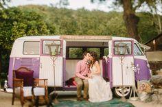 The perfect getaway car - a vintage purple VW van!