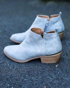 Our Lanna Bootie is a classic but modern low cut ankle bootie that's your new go-to for spring with a side cut out! It features an almond toe, a distressed leather upper, an easy slip on, and a low st Crazy Shoes, New Shoes, Cute Shoes, Me Too Shoes, Ankle Booties, Bootie Boots, Grey Booties, Women's Boots, Cowboy Boots