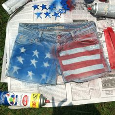 DIY happy fourth shorts :) super easy to do!.....not the cutest but if you have old shorts this could be fun....but id think they would get stiff