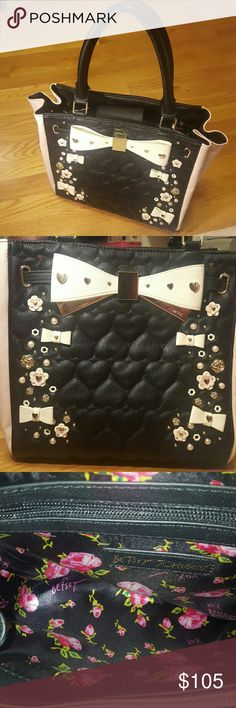 Betsy Johnson Tote Unique and stunning Betsy Johnson Tote  Black and Blush with gold and pearl decorations 3D Flowers Betsey Johnson Bags