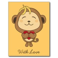 Cute cartoon monkeys in love - photo#6