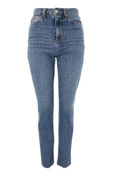 MOTO Mid Blue Raw Hem Straight Leg Jeans