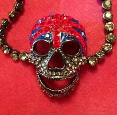 Butler and Wilson Clear Skull Swirl Tassell 4 Side Necklace NEW