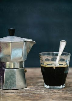 #Coffee in a metal pot and in a glass. Simple and beautiful!