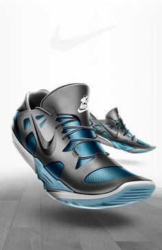 NIKE SKIPPING ROPE 2.0 by Mickael Castell | Dynamic perspective and professional layout shows reverse side of shoe of left foot, good use of a pattern layer to add contrast and depth, caisdesign.com