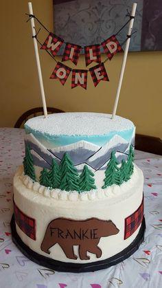 Buffalo Plaid & Wilderness inspired First Birthday Cake