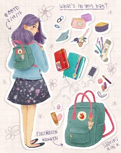 whats in my bag artist Backpack Drawing, Drawing Bag, Character Inspiration, Character Art, Character Design, Aesthetic Drawing, Aesthetic Art, Estilo Goth Pastel, What's In My Backpack