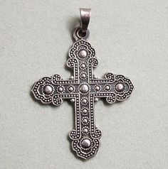 Finely Detailed 950  Finely Detailed 950 Sterling Silver Cross Pendant from Mexico