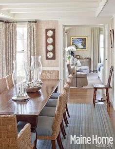 elegant beach house dining room, featured in Maine Home & Design