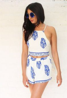 Tapestry+Print+Tie+Back+Crop+Top+&+Shorts+Co-ord+Set+in+Blue