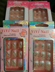 $9.99 Acrylic False Nails Pre-Glued Glitter French Tip Rhinestones LOT OF FOUR pkgs