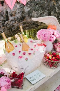 Rose party | birthday party ideas | wedding shower | floral ice cubes