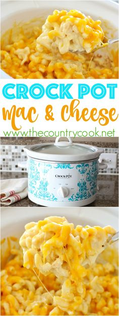 Crock Pot Macaroni and Cheese recipe from The Country Cook. All real cheeses and creamy deliciousness!