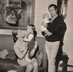 """The Princely Family of Denmark - Paris, November 1969 Princess Margrethe and Prince Henrik with their children Prince Frederik and Prince Joachim in their arms. """"Scan by Royal Watcher"""""""