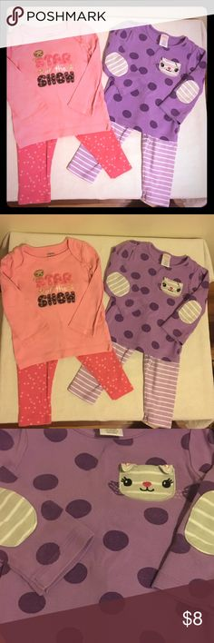 Gymboree Lion n Mouse Bundle Two really cute outfits from Gymboree.  The purple set features lavender and white striped pants and a lavender and purple polka dot shirt with an adorable mouse pocket and striped patches on the elbows. The pink set features coral pink pants with light pink stars on them and a lighter pink shirt with a cute saying and an adorable little lion. These are used but still in excellent shape with no stains. From a smoke free home. I offer discounts on bundles and have…