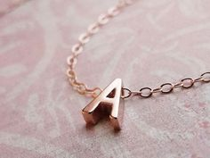Rose Gold Mini Initial Pendant Necklace by Olive Yew from Suze Yalof Schwartz on OpenSky