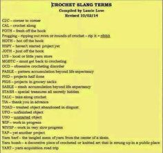 Crochet Slang Terms