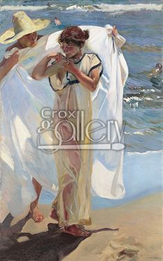 """After the Bath"" by Sorolla, Oil Painting on Canvas."