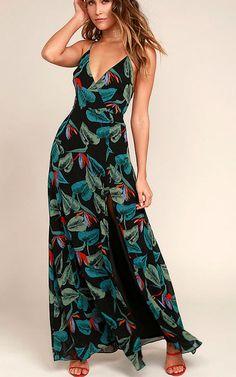 Birds Of Paradise Black Floral Print Maxi Dress via @bestchicfashion