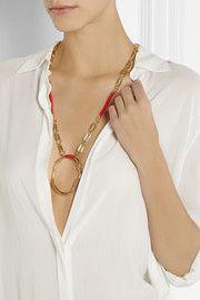 Aurélie BidermannGold-plated and cotton necklace