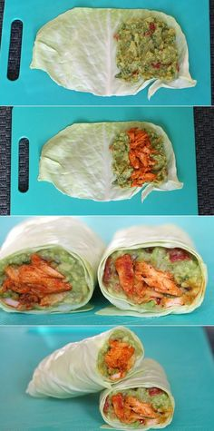 Casserole wraps with salmon and avocado # slender food recipes Really delicious and healthy .- Spidskålswraps med laks og avocado Virkelig lækre og sund… Casserole wraps with salmon and avocado - Clean Eating Snacks, Healthy Snacks, Healthy Eating, Healthy Recipes, Healthy Wraps, Helathy Food, Veggie Recipes, Cooking Recipes, Good Food