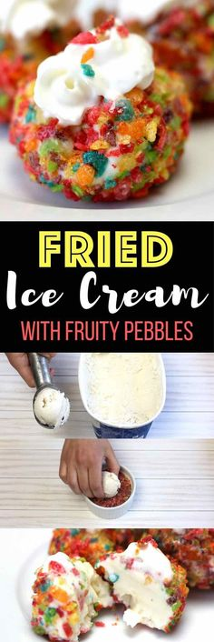 The most incredible Fried Ice Cream Dessert With Fruity Pebbles: Frozen and creamy ice cream is coved by hot, deep fried and crunchy fruity pebble cereal! Fun homemade deep fried ice cream that's super easy to make. Only 3 ingredients: your favorite ice cream, fruity pebble cereal and whipped cream! 3 Ingredient recipe. Desserts. Quick and easy recipe with video tutorial.   tipbuzz.com