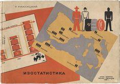 """Pictorial statistics and the Vienna Method"" book cover, Ivan Ivanitskii, 1932, 180 x 260 mm, (I.C. 10.3)"