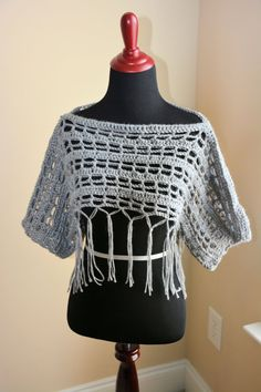 Gray Crochet Shrug by TheTallulahRose on Etsy