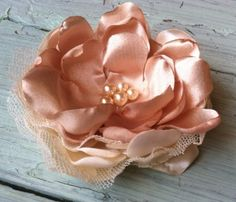 Champagne & Beige Satin Cabbage Rose by RhysandRaesCreations, $15.00