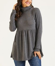Suzanne Betro Weekend Charcoal Turtleneck Tunic - Women & Plus Charcoal, That Look, High Neck Dress, Tunic Tops, Turtle Neck, Sweaters, Clothes, Dresses, Women