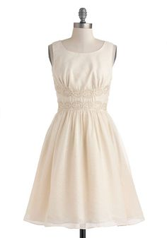 Speckled Someone Dress - Mid-length, Cream, Solid, Crochet, Wedding, Cocktail, Bride, A-line, Tank top (2 thick straps), Scoop, Graduation