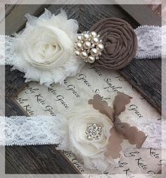 Wedding Garter- Vintage Wedding Bridal Garter and Toss Garter- Dark Champange and Ivory Wedding Garter-Toss Garter