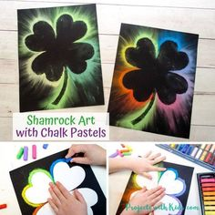 Make Brightly Colored Shamrock Art with Chalk Pastels - Trend Topic For You 2020 Spring Art Projects, Spring Crafts For Kids, Craft Projects For Kids, Easy Crafts For Kids, Crafty Projects, Art For Kids, Project Ideas, Summer Kids, Easter Crafts Kids