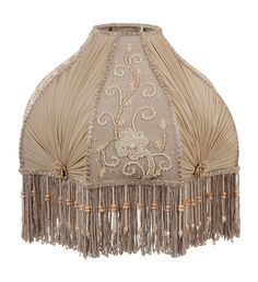 Victorian Antique Buff Pleated Chiffon and Embroidered Panels Lamp Shade | Antique Lamp Supply