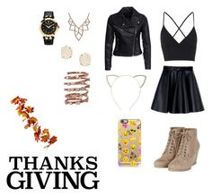 """""""Thanksgiving outfit"""" by ambarlarisa on Polyvore featuring moda, MSGM, Topshop, New Look, Cara, Casetify, Chicnova Fashion, Versace, Kendra Scott y Plukka"""