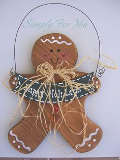 Wood Gingerbread Man  Hand Painted by verysimplyforyou on Etsy, $12.00