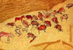 Altamira Spain Ice Age Cave Paintings years old. Fresco, Religions Du Monde, Prehistoric Age, Cave Drawings, Tempera, Cave Painting, Ancient Art, Ice Age, Rock Art