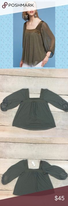 Anthro Allyson Textured Top Lined swing top with sheer olive green overlay.  By Meadow Rue Anthropologie Tops Blouses
