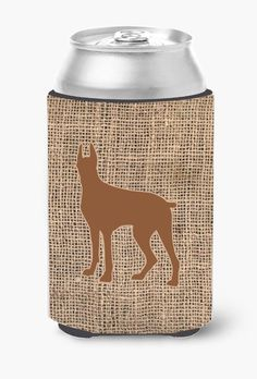 Great Dane Burlap and Brown Can or Bottle Beverage Insulator Hugger