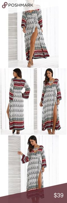 """Bohemian Print V Neck Maxi Dress Stunning boho chic maxi dress featuring a deep V neck line and tie belt. Made of 100% rayon. One size fits most.  Measurements   Bust 37"""" Waist 35"""" Length 55.5' Sleeve Length 20.5' Bchic Dresses Maxi"""