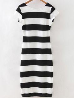 BU ELBİSE BENDE VAR İSTEYEN OLURSA Black White Striped Short Sleeve Backless Dress
