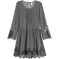 H&M Chiffon Dress with Lace $29.99 (£25) ❤ liked on Polyvore featuring dresses, chiffon sleeve dress, trumpet dress, short sleeve dress, chiffon dresses and trumpet sleeve dress